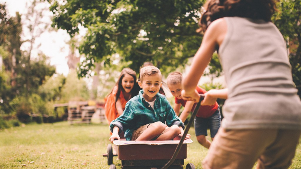 kids play outdoors